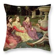 The Decameron Throw Pillow by John William Waterhouse