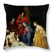 The Descent From The Cross Throw Pillow by Nicolas Tournier