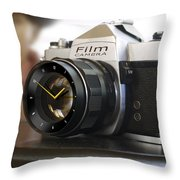 The Desk Clock Throw Pillow by Mike McGlothlen