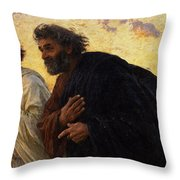 The Disciples Peter And John Running To The Sepulchre On The Morning Of The Resurrection Throw Pillow by Eugene Burnand