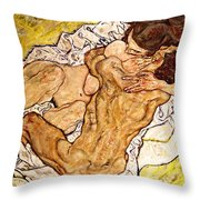 The Embrace Throw Pillow by Egon Schiele