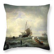 The Entrance To The Harbour At Hellevoetsluys Throw Pillow by Andreas Achenbach