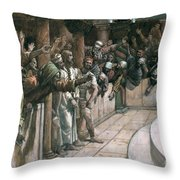 The False Witness Throw Pillow by Tissot