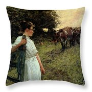The Farmer's Daughter Throw Pillow by Henry Herbert La Thangue