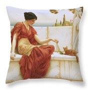 The Favorite Throw Pillow by John William Godward
