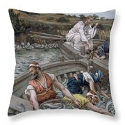 The First Miraculous Draught Of Fish Throw Pillow by Tissot