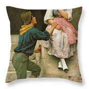 The Fishermans Wooing From The Pears Annual Christmas Throw Pillow by Eugen Von Blaas