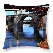 The Five Bridges - East Falls - Philadelphia Throw Pillow by Bill Cannon