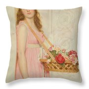 The Flower Seller Throw Pillow by George Lawrence Bulleid