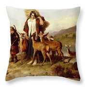 The Forester's Family Throw Pillow by Sir Edwin Landseer