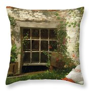 The Four Leaf Clover Throw Pillow by Winslow Homer