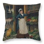 The Fruit Seller Throw Pillow by Victor Gabriel Gilbert