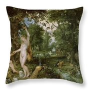 The Garden Of Eden With The Fall Of Man Throw Pillow by Jan Brueghel and Rubens
