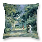 The Gardens In Montmartre Throw Pillow by Pierre Auguste Renoir