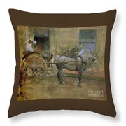 The Governess Cart Throw Pillow by Joseph Crawhall