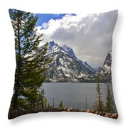 The Grand Tetons And The Lake Throw Pillow by Susanne Van Hulst