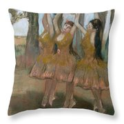The Greek Dance Throw Pillow by Edgar Degas