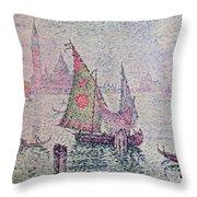 The Green Sail Throw Pillow by Paul Signac