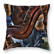 The Harp Player Throw Pillow by David Patterson