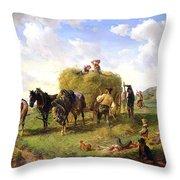 The Hay Harvest Throw Pillow by Hermann Kauffmann