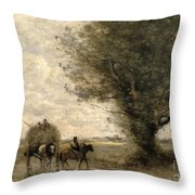 The Haycart Throw Pillow by Jean Baptiste Camille Corot