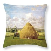 The Haystack Throw Pillow by Camille Pissarro