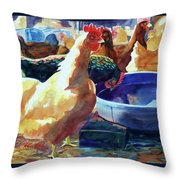The Henhouse Watering Hole Throw Pillow by Kathy Braud