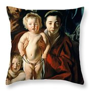 The Holy Family with St. John the Baptist Throw Pillow by Jacob Jordaens