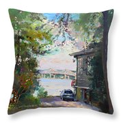 The House By The River Throw Pillow by Ylli Haruni