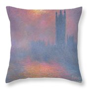 The Houses Of Parliament London Throw Pillow by Claude Monet
