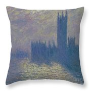 The Houses Of Parliament Stormy Sky Throw Pillow by Claude Monet