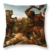 The Hunted Slaves Throw Pillow by Richard Ansdell