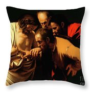 The Incredulity of Saint Thomas Throw Pillow by Caravaggio