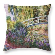 The Japanese Bridge Throw Pillow by Claude Monet