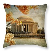 The Jefferson Memorial Throw Pillow by Lois Bryan