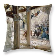The Jews Took Up Stones To Cast At Him Throw Pillow by Tissot