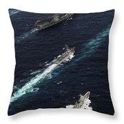 The John C. Stennis Carrier Strike Throw Pillow by Stocktrek Images