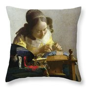 The Lacemaker Throw Pillow by Jan Vermeer