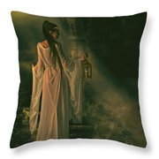 The Lady of Shalott Throw Pillow by Shanina Conway