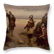 The Landing of the Pilgrim Fathers Throw Pillow by George Henry Boughton