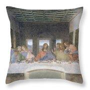 The Last Supper Throw Pillow by Leonardo da Vinci
