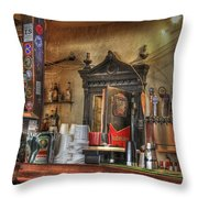 The Lazy Gecko Bar Key West Throw Pillow by Scott Bert
