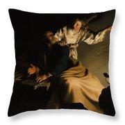 The Liberation Of Saint Peter Throw Pillow by Abraham Bloemaert