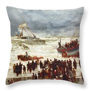 The Lifeboat Throw Pillow by William Lionel Wyllie