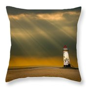 The Lighthouse As The Storm Breaks Throw Pillow by Meirion Matthias