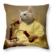 The Little Chatterbox Throw Pillow by Martine Roch