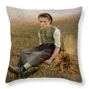 The Little Gleaner Throw Pillow by Hugo Salmon
