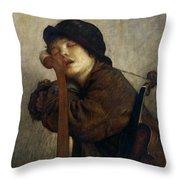 The Little Violinist Sleeping Throw Pillow by Antoine Auguste Ernest Hebert