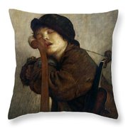 The Little Violinist Sleeping Throw Pillow by Antoine Auguste Ernest Hebert