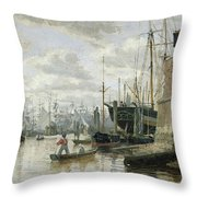 The Log Cabin At Hamburg Harbour Throw Pillow by Valentin Ruths